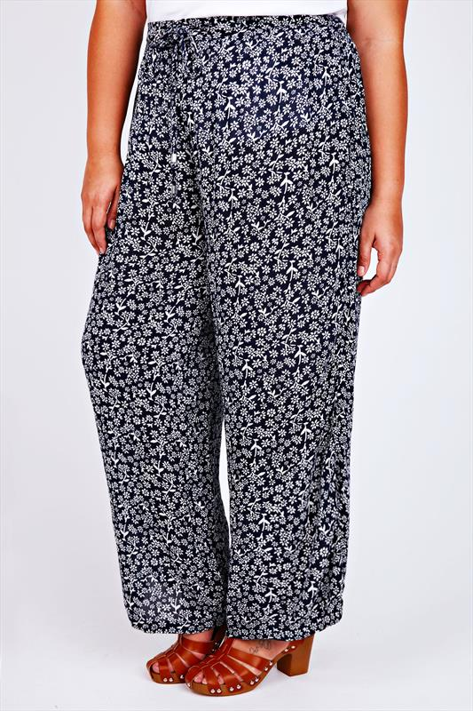 Navy & White Floral Print Crepe Palazzo Trousers
