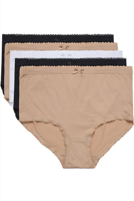 Plus Size Plus Size Briefs & Knickers 5 PACK Black, White and Nude Full Briefs