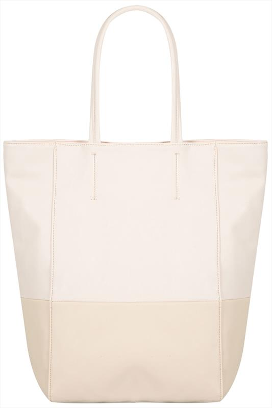 Nude PU Shopper Zip Bag With Cream Block Detail