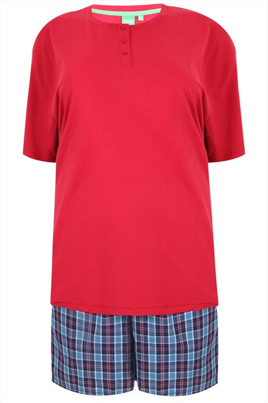 D555 Dark Red T-Shirt With Woven Checked Shorts