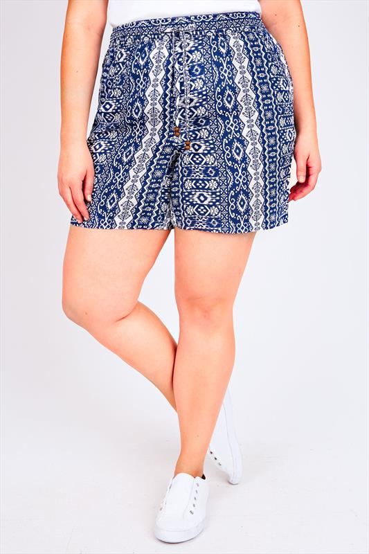 Blue & White Tile Aztec Print Shorts With Pockets