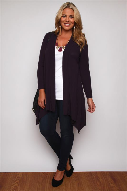 Purple Edge To Edge Waterfall Jersey Cardigan With Lace Insert ...