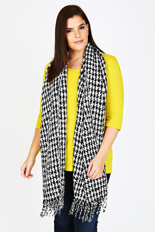 Black And White Dogtooth Blanket Scarf
