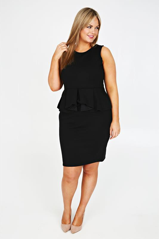 Black Sleeveless Peplum Jersey Midi Dress plus size 16,18,20,22,24,26