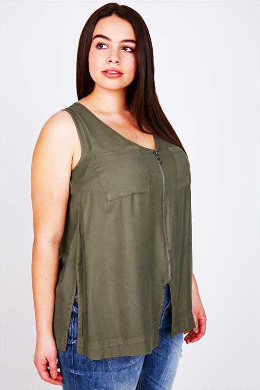 Plus Size Day Tops Khaki Sleeveless Top With Zip Front