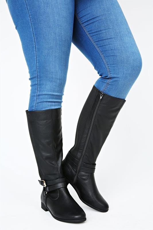 Black Knee High Stretch Riding Boot With Buckle Trim In EEE Fit