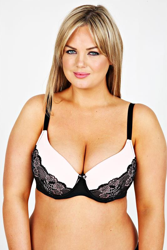 Black Lace & Pink Moulded Under Wired Bra