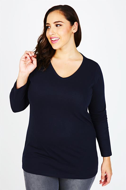 Navy Long Sleeve V-Neck Plain T-Shirt