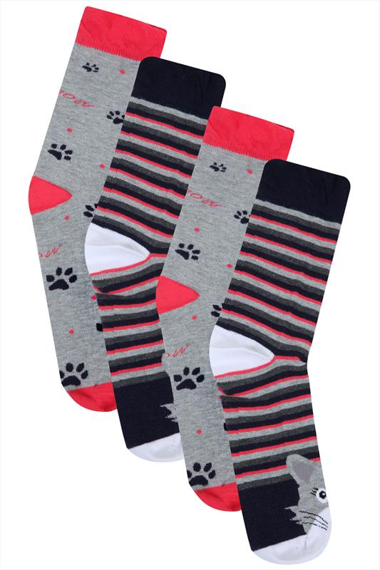 2 PACK Pink, Grey & Navy Cat And Paw Print Socks In Wide Fit