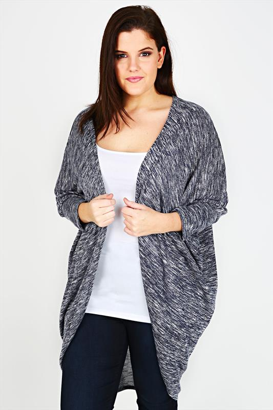 Navy & White Marl Longline Cocoon Cardigan With 3/4 Sleeves