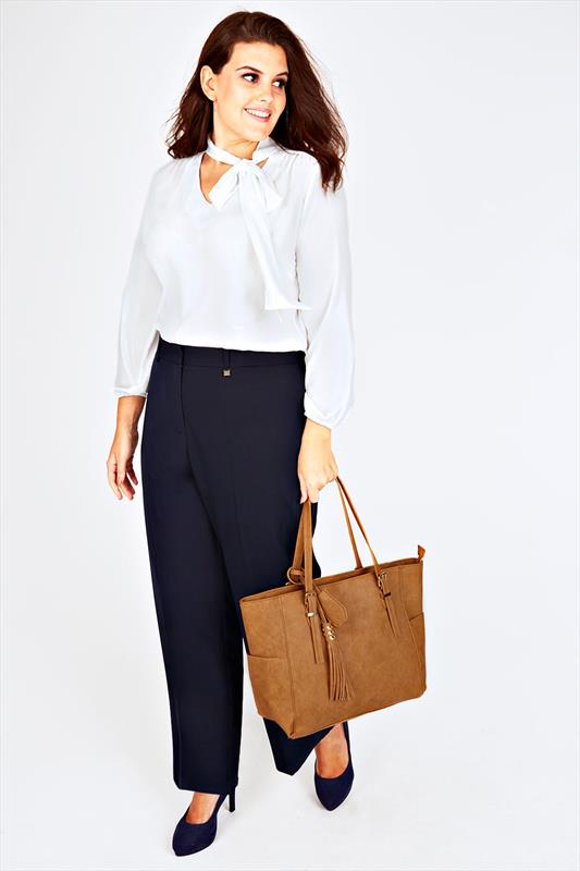 Navy Wide Leg Trousers With Gold Trim