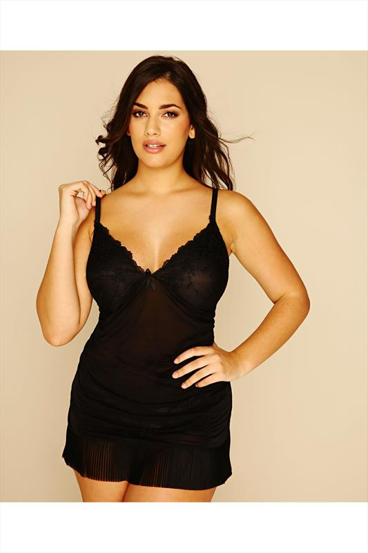 Black Pleated Babydoll With Ruching Detail