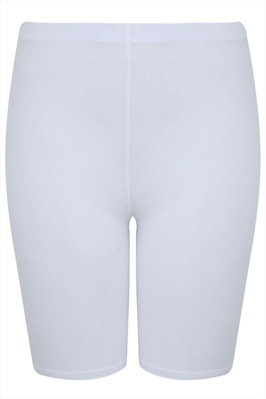 white cotton essential legging shorts plus size 16 to 36