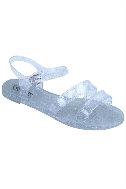 Silver Glitter Two Strap Jelly Sandals In EEE Fit