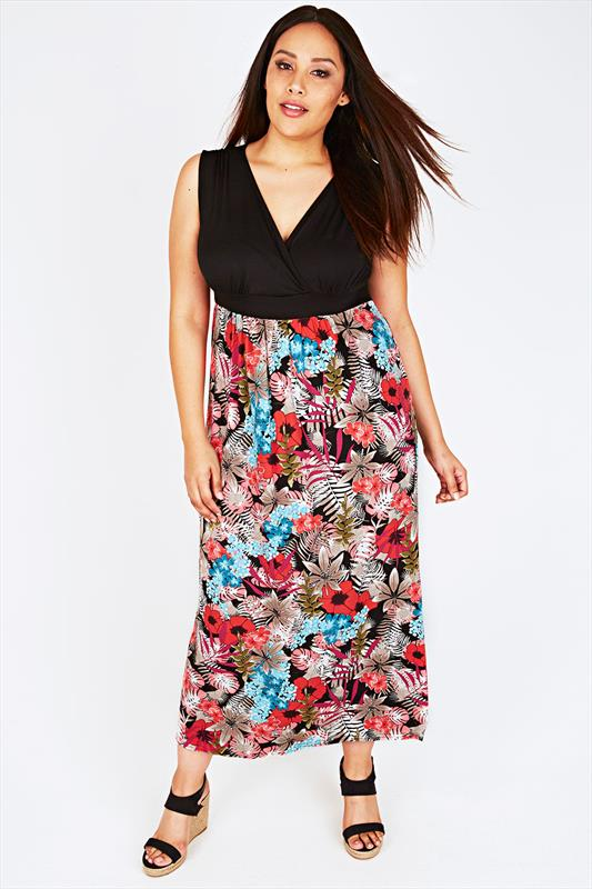 Black And Multi Tropical Floral Print Maxi Dress With V-Neckline