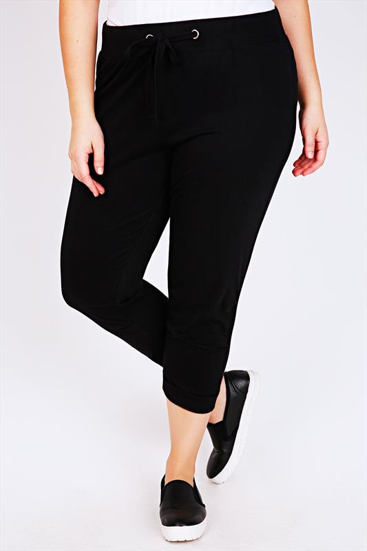 Westrock Bay Black Cropped Joggers With Elasticated Waist & Cuff