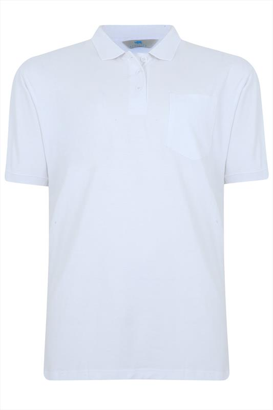 Badrhino White Plain Polo Shirt Tall Extra Large Sizes M