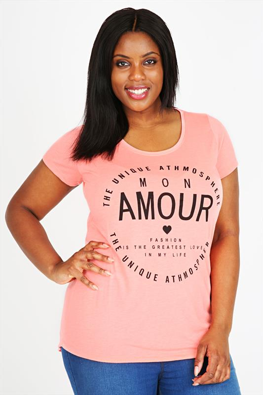 Coral Short Sleeve Dip Back 'Amour' Print T-Shirt