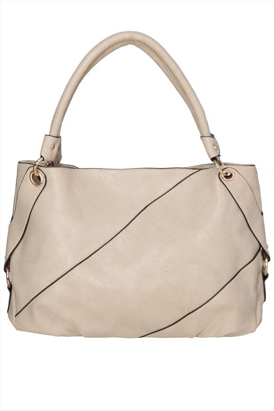 Stone Leather Look Slouch Bag With Panel Detail