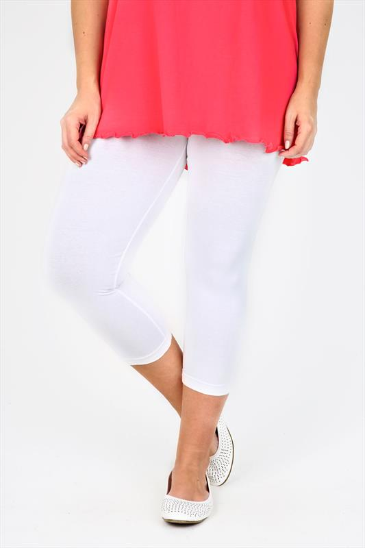 White Cotton Elastane Cropped Leggings