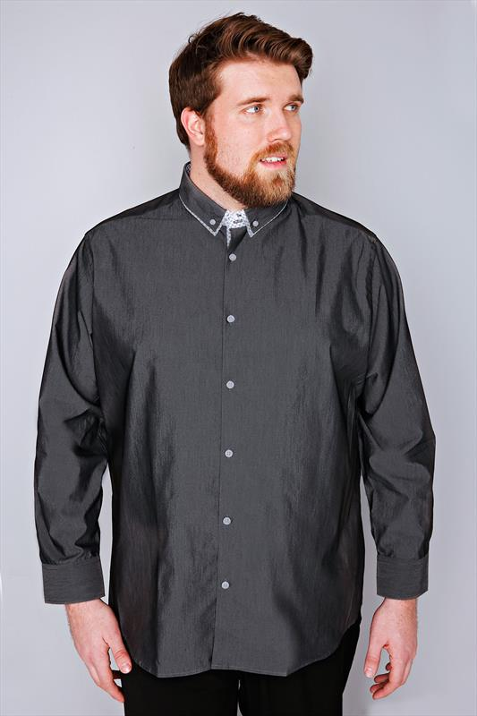 Slate Grey Formal Long Sleeve Shirt - TALL