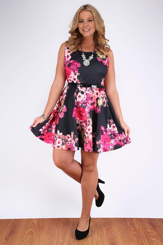 black and pink tropical floral skater dress with patent belt plus