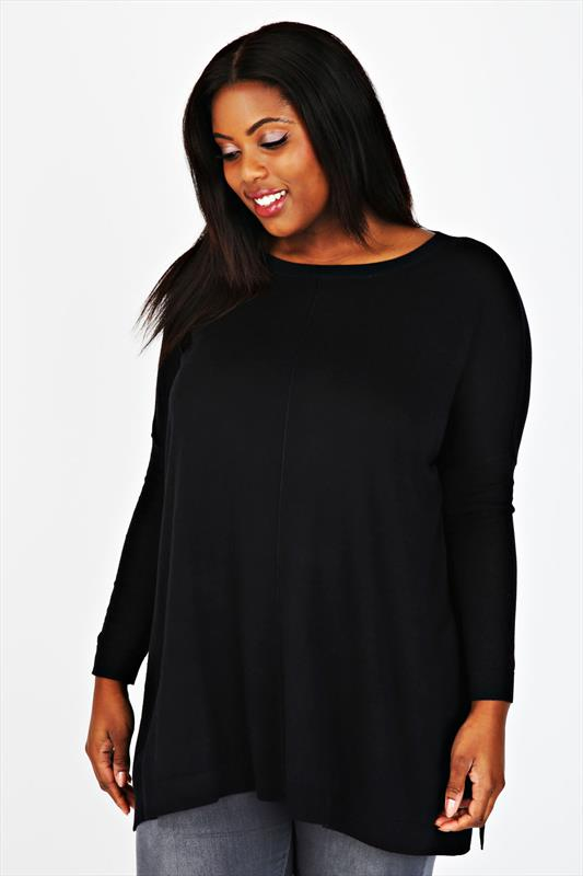 Black Batwing Knitted Slouch Jumper