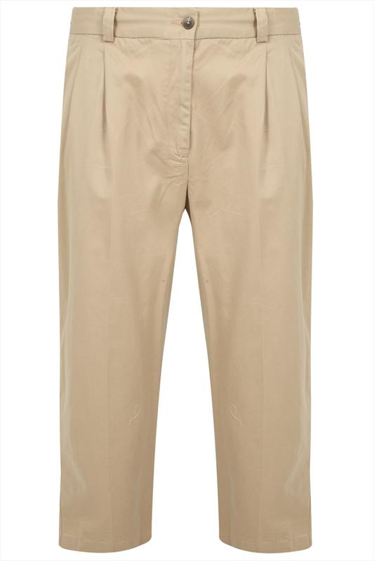 Camel Stretch Waist Chino Trousers With Pleats