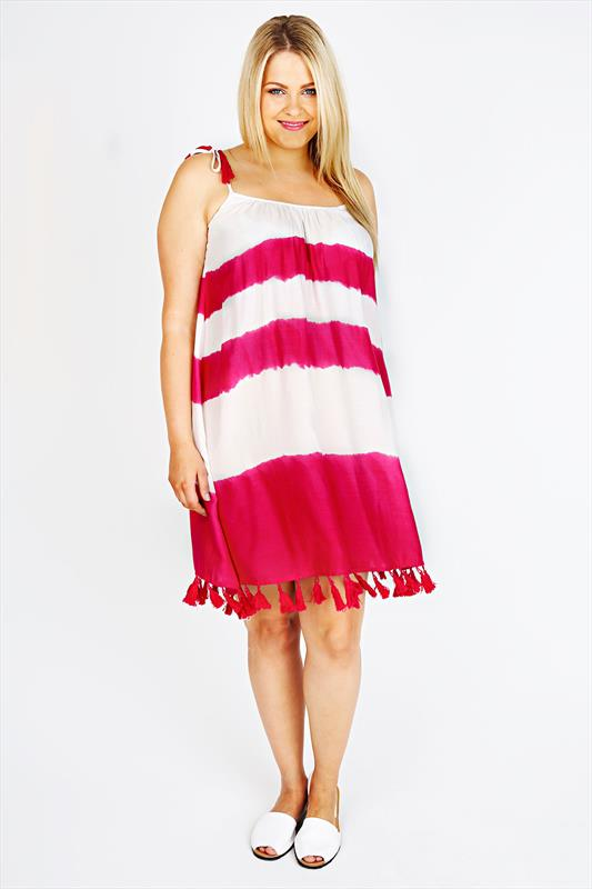 Pink & White Tie Dye Tunic With Fringed Tassels