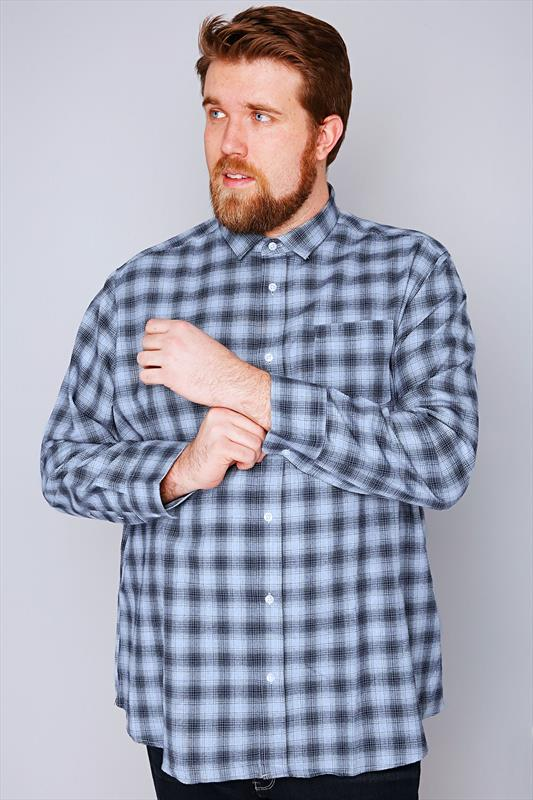 Slate Grey Blue & Navy Checked Long Sleeve Shirt - TALL