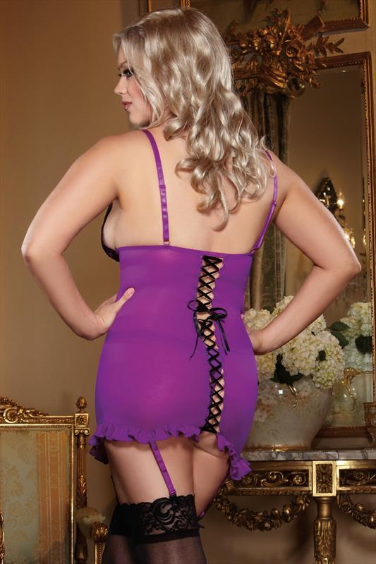 DREAMGIRL Purple And Black Chemise, Garter And Thong Set