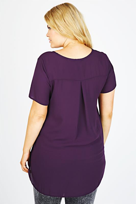 Purple V-Neck Chiffon Top With Pleat Back And Dipped Hem
