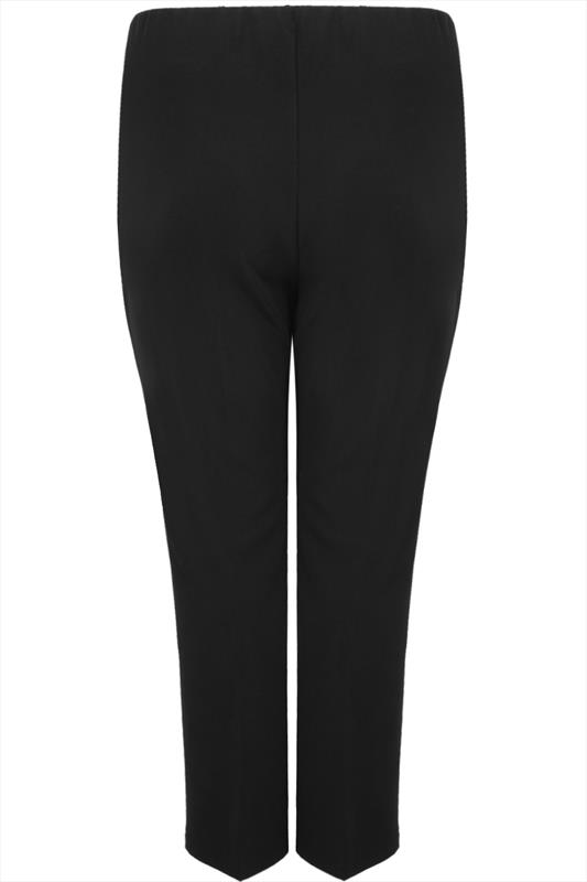 Black Pull On Ribbed Bootcut Trousers Plus Size 16 To 32