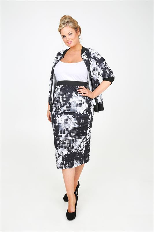 Black And White Floral Abstract Print Pencil Skirt plus size 14,16 ...