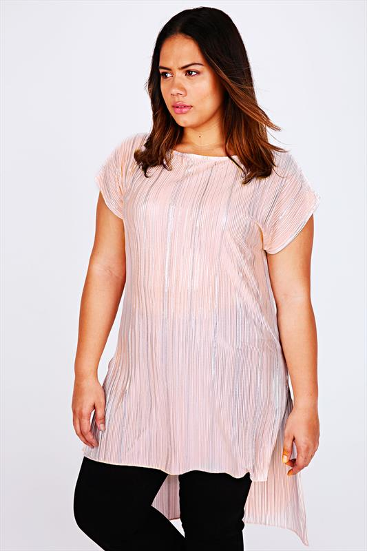 Pastel Pink Plisse Pleated Longline Top With Dipped Hem