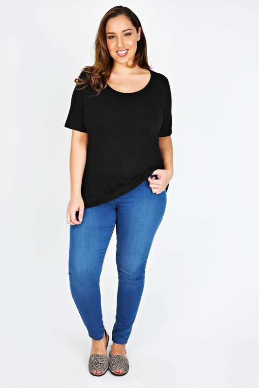 Black Short Sleeve Scoop Neck Basic T-shirt
