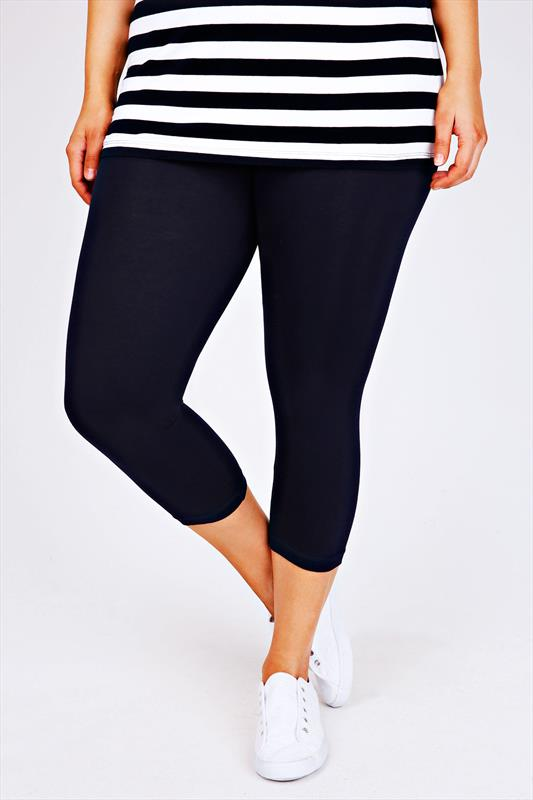 Navy Cotton Elastane Cropped Leggings