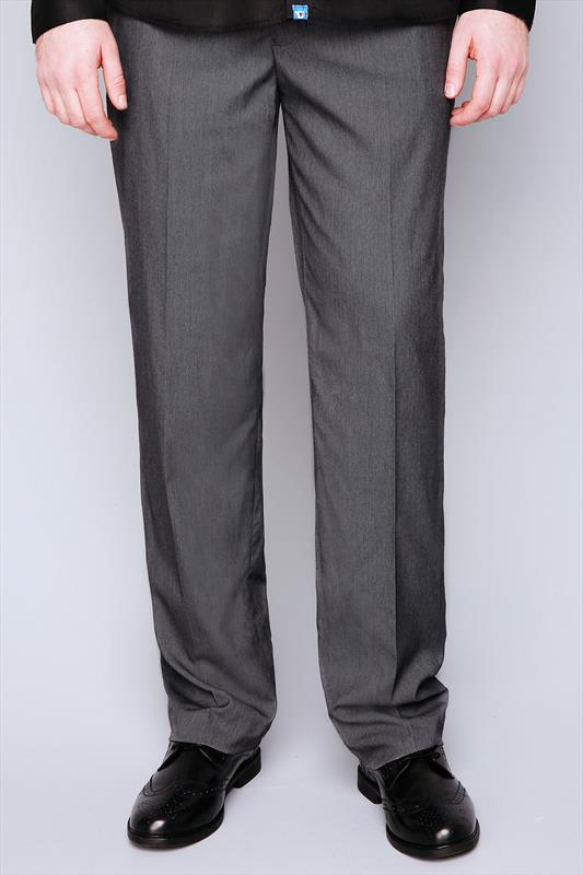 D555 Charcoal Side Adjustable Waist Trouser - TALL