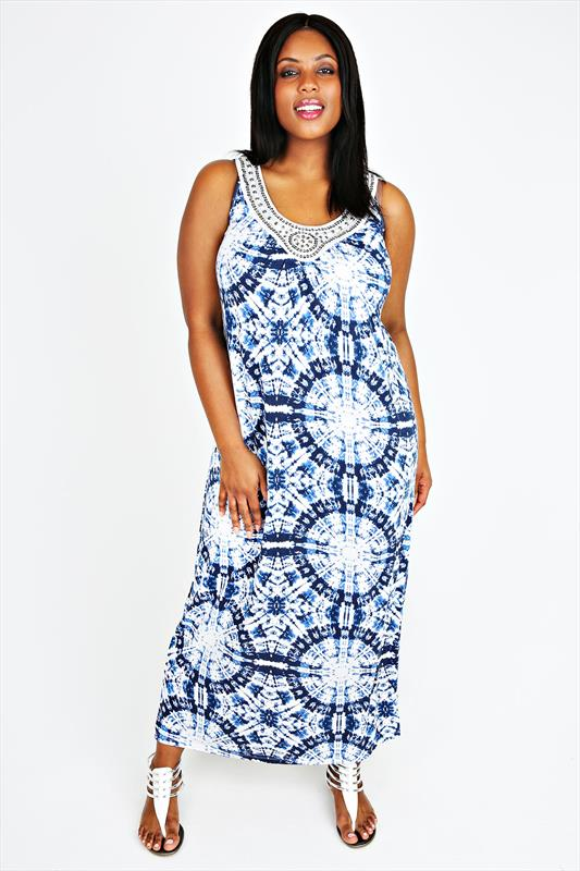 Blue & White Tie Dye Maxi Dress With Embellished Neck