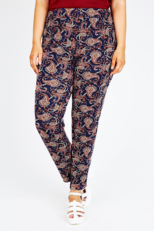 Navy & Brown Paisley Print Harems With Elasticated Waist