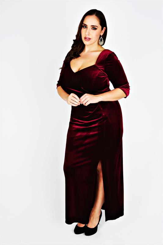 SCARLETT & JO Cranberry Velvet Maxi Dress Plus Size 14 to 32