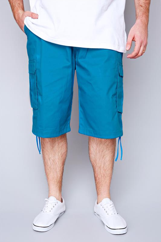NOIZ Turquoise Cotton Cargo Shorts With Pockets