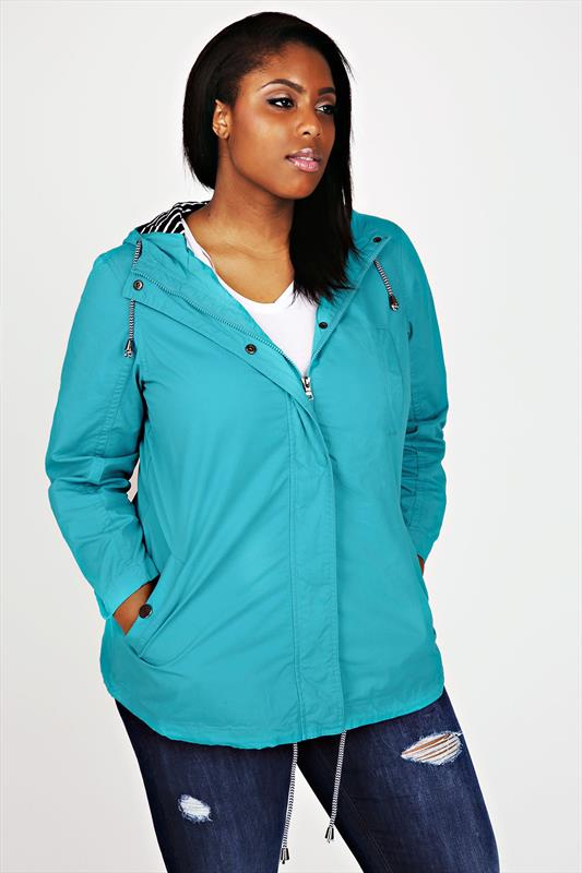 Aqua Blue Washed Cotton Parka Jacket With Hood