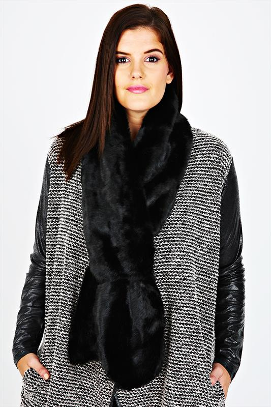 Black Faux Fur Stole Scarf With Silky Lining