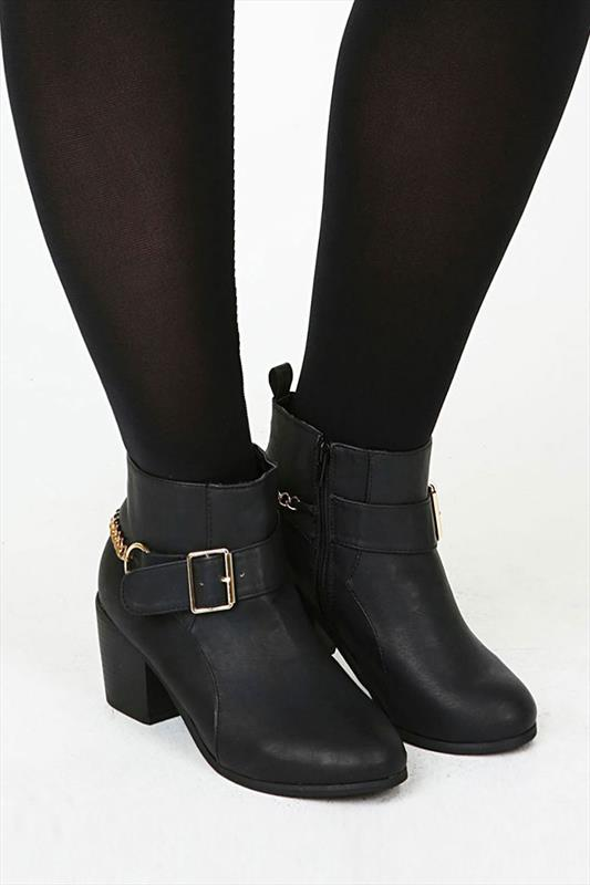 Black Ankle Boots With Gold Buckle & Chain Detail In EEE Fit