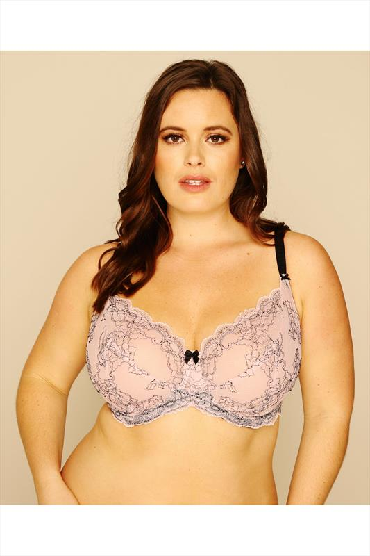 Pale Pink & Black Lace Non-Padded Bra