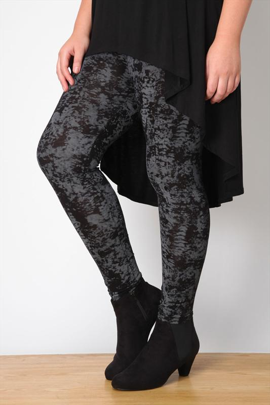 Black And Charcoal Smudge Print Full Length Leggings