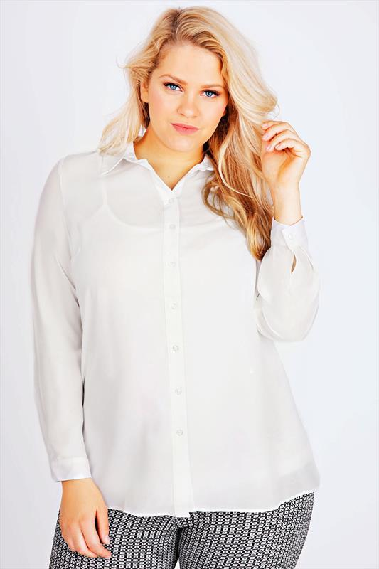 Ivory Plain Chiffon Button Up Shirt