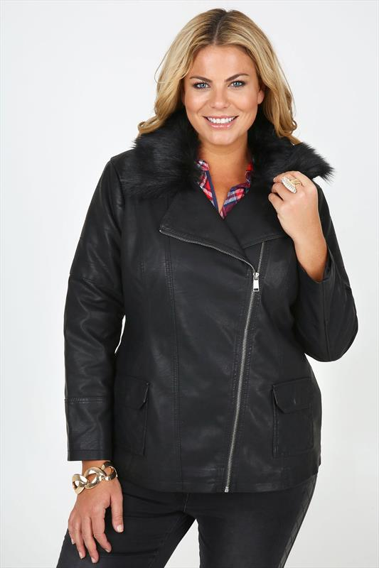 f7ab126baaa Black Quilted PU Biker Jacket With Removable Faux Fur Collar plus ...