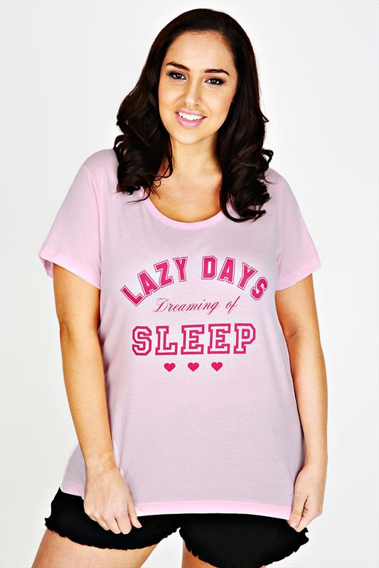 Pink 'Lazy Days Dreaming Of Sleep' Slogan Print Pyjama Top